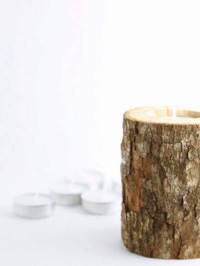 Rustic Log Candles