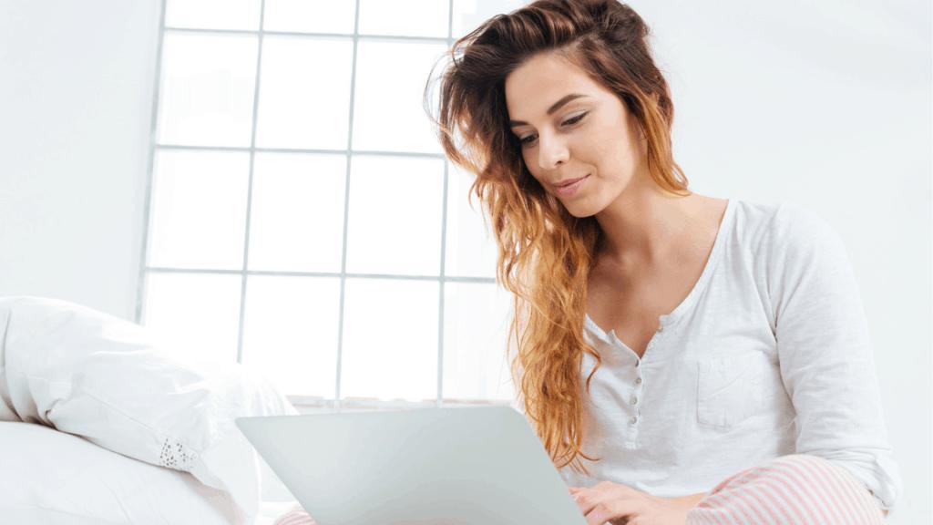 Woman on computer blogging