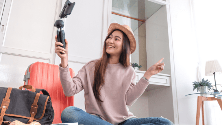 woman with phone camera
